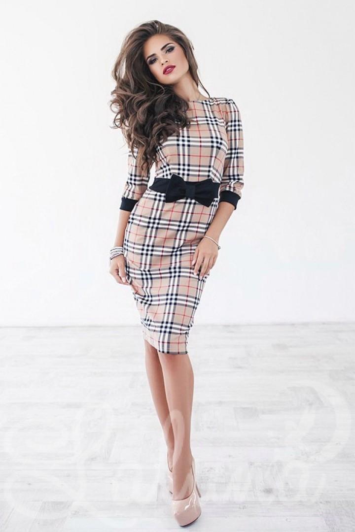 Трикотажное платье футляр PRA-1045