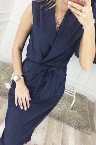Длинное платье с карманом  KL-146