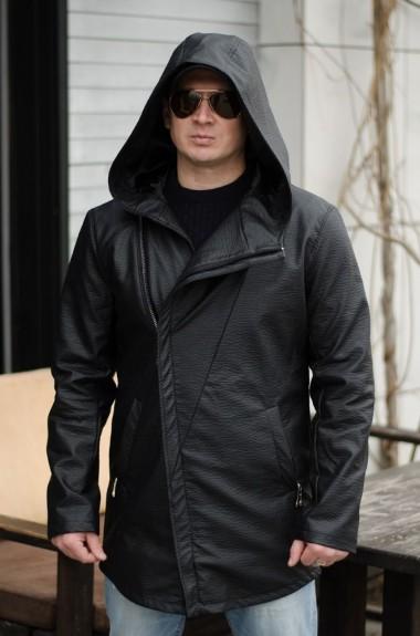 Удлиненная кожаная куртка мужская EV-726