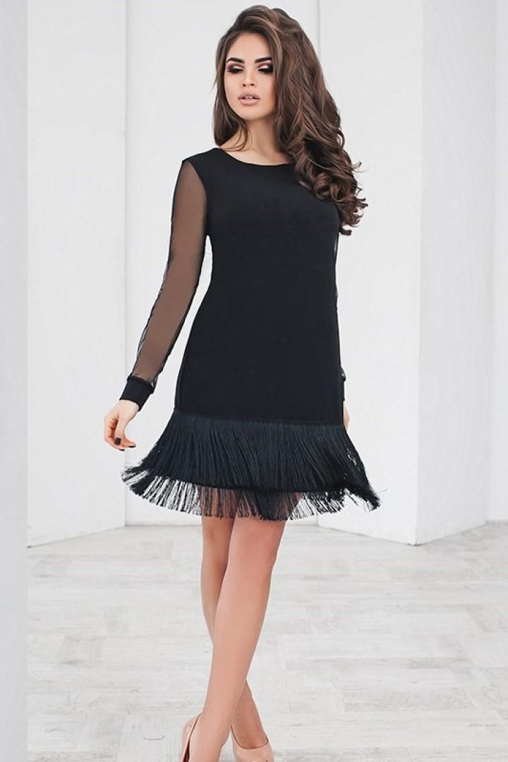 43a57e938a0 Черное платье с бахромой PRA-1156
