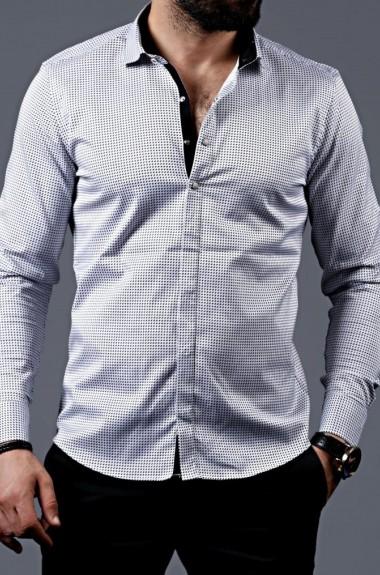 Мужская белая рубашка с принтом RT-0101524