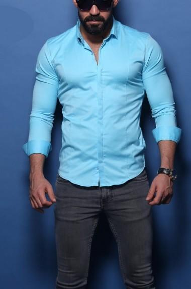 Мужская рубашка с длинным рукавом однотонная RT-2207419