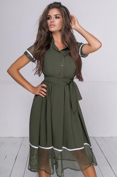 Комбинированное платье из разных тканей PRAT-4038.4039