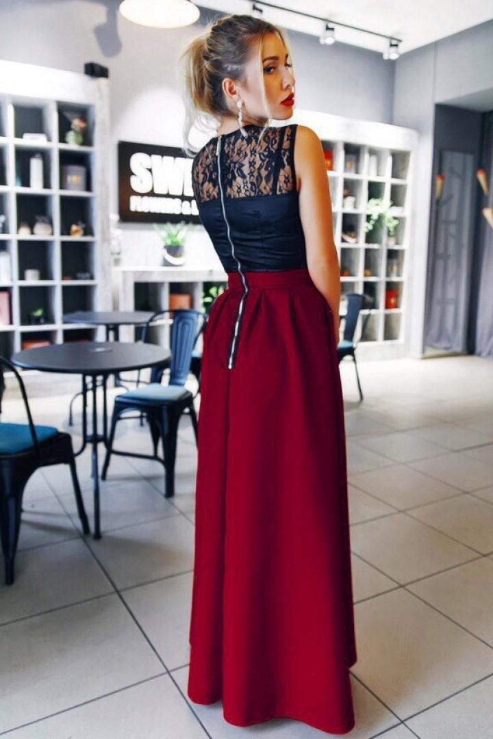 Платье с юбкой в складку KL-014