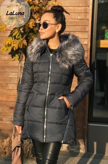 Зимняя куртка на синтепоне женская с мехом VA-474