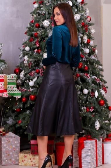 Кожаная юбка трапеция миди ODF-677A13