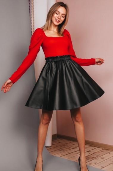 Кожаная юбка плиссе FL-1479A250