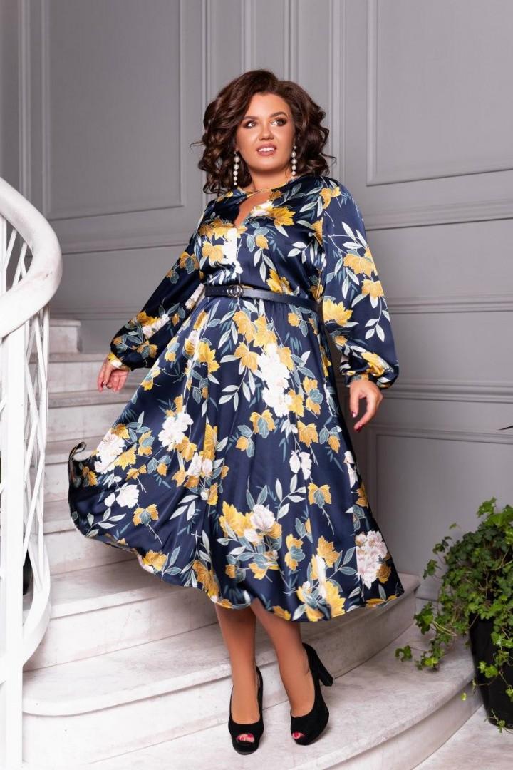 Шелковое платье с принтом EY-340A18B19