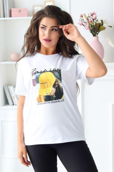 Модная женская футболка с принтом EKS-798