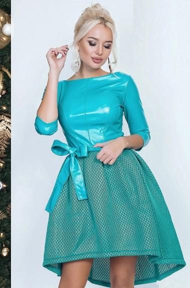 Платье комбинированное из двух тканей KO-062