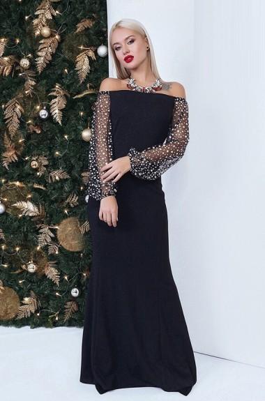e0dea28b8df Вечернее платье в пол с рукавами ANK-1716
