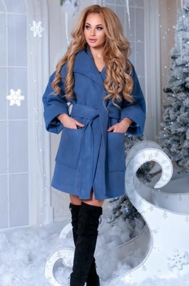 Утепленное пальто с поясом EKS-680