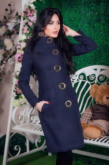 Приталенное пальто с поясом EKS-485