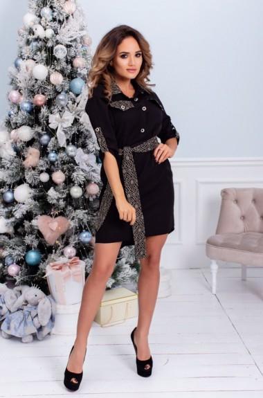 Платье женское черное с поясом ALL-2085