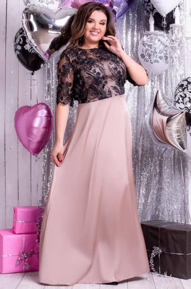 Платье с гипюровым верхом EY-221