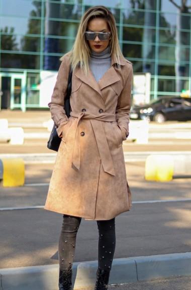 Замшевое пальто женское AR-120919A28