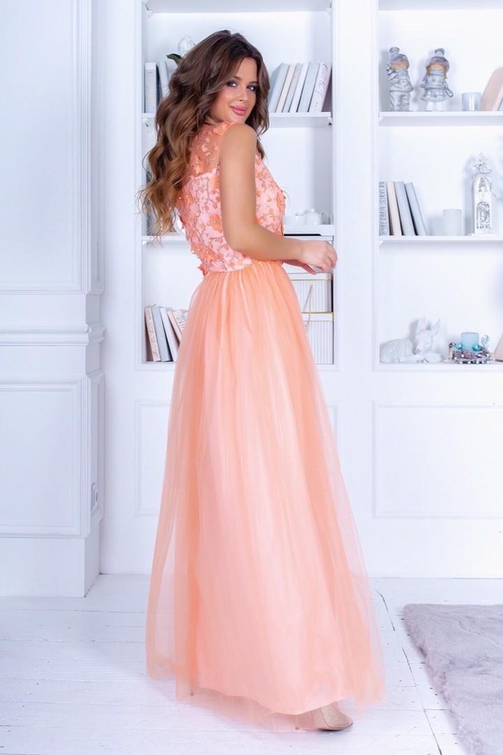 Длинное платье в пол без рукавов TNI-875A30