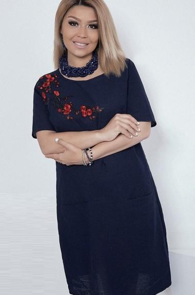 Льняное платье с вышивкой EKP-1359