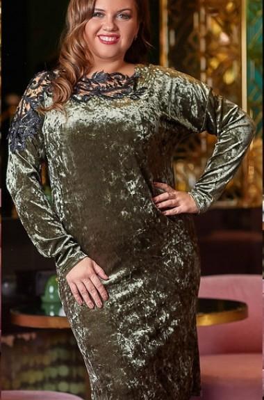 Бархатное платье с рукавами YM-03885