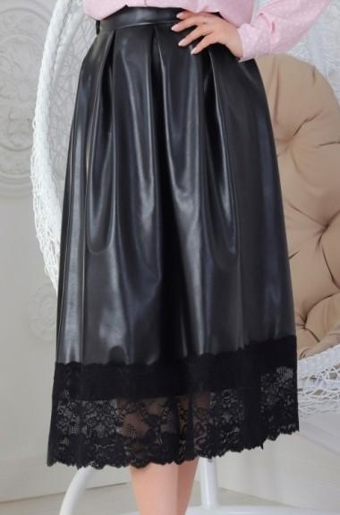 Черная кожаная юбка миди YM-0269A15