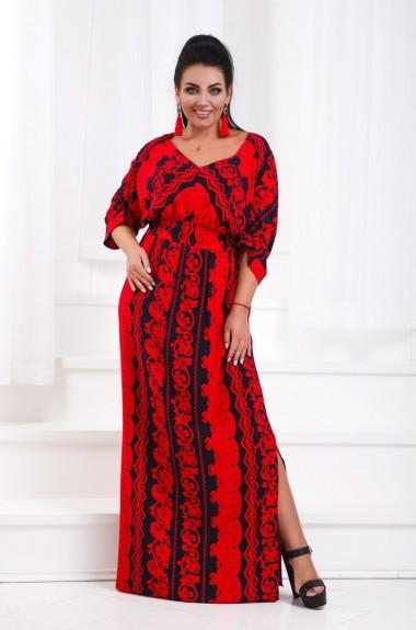 Длинное прямое платье с разрезом DG-d1256