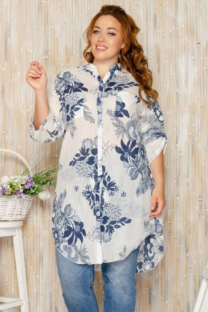 Рубашка-туника с воротником стойкой ICH-45811A225