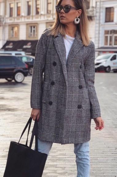 Пальто в клетку женское LV-343A670