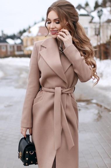 Пальто на запах с поясом EKS-742