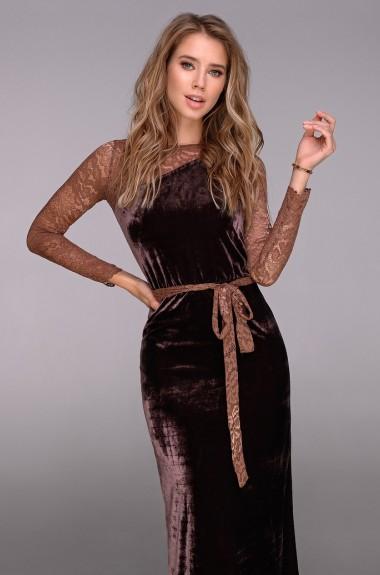 Вечернее платье в пол с рукавами DG-p41165A400
