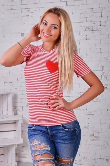 Женская футболка в полоску с сердечком KL-224