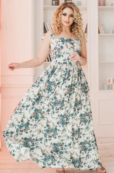 Длинное льняное платье PRA-1111