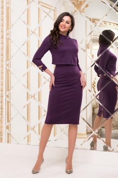 Модное платье с баской TD-1017