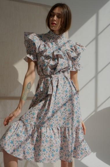 Модное льняное платье YM-5204.4A18B19