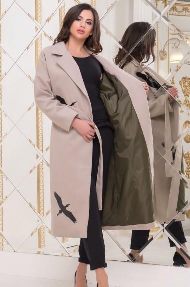 Пальто на запах с поясом MB-143