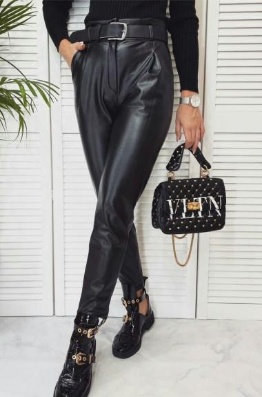 Черные кожаные брюки NAV-0310A300
