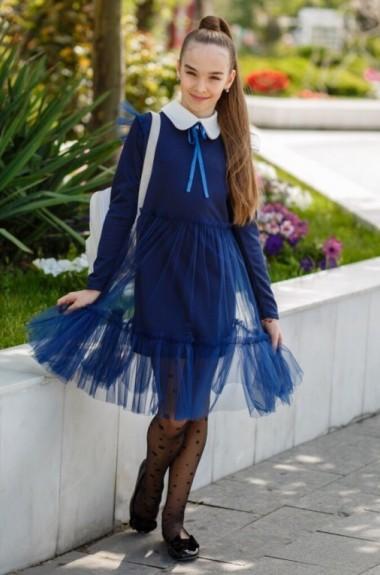 Школьное трикотажное платье KL-527