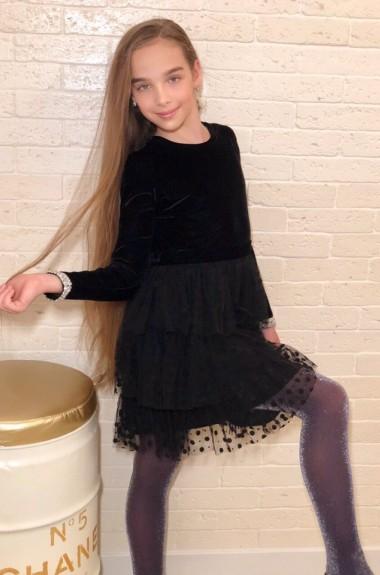 Бархатное нарядное платье для девочки KL-511