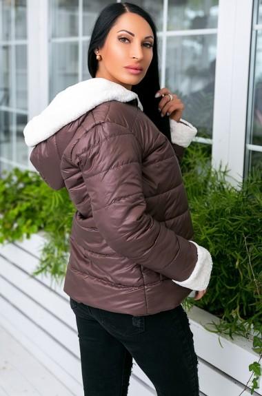 Куртка блестящая женская с мехом KV-N908A500