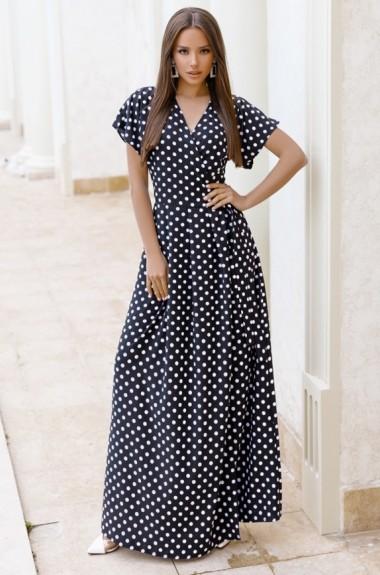Длинное платье с запахом в горошек DM-11611A420