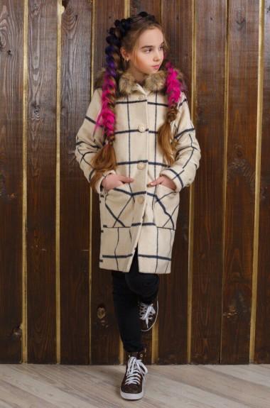 Детское пальто с капюшоном KL-320