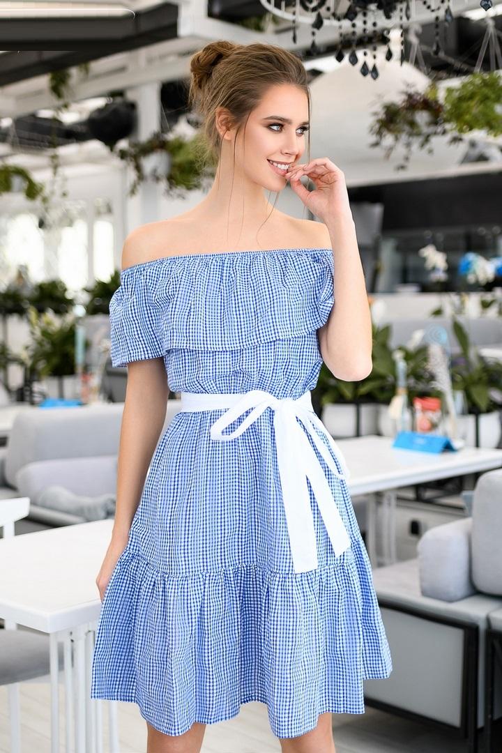 Короткое платье с открытыми плечами DG-p1574