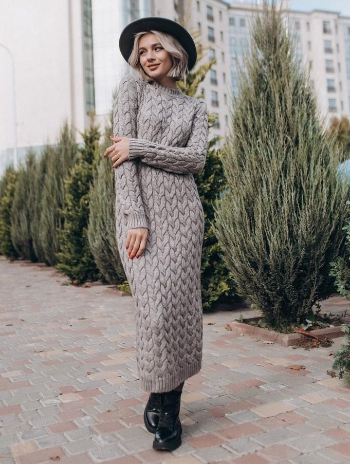 теплое длинное зимнее платье